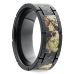Segmented Camo Inlay Hammered Men's Ring in Zirconium | Thumbnail 02