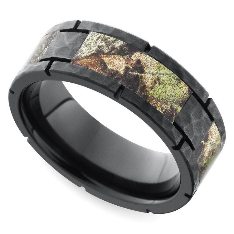 Segmented Camo Inlay Hammered Men's Ring in Zirconium | 01