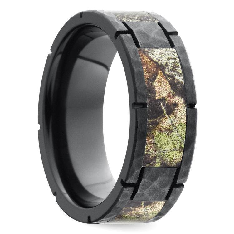 Segmented Camo Inlay Hammered Men's Ring in Zirconium | 02
