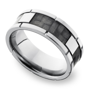 Segmented Carbon Fiber Inlay Men's Wedding Ring in Titanium (8mm)
