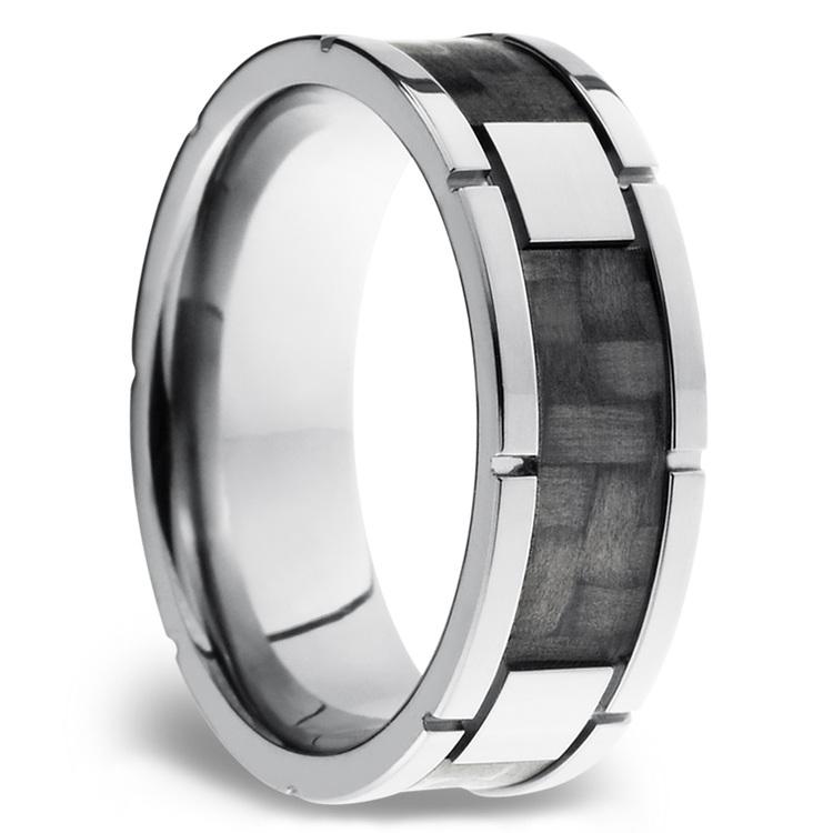 Segmented Carbon Fiber Inlay Men's Wedding Ring in Titanium (8mm) | 02