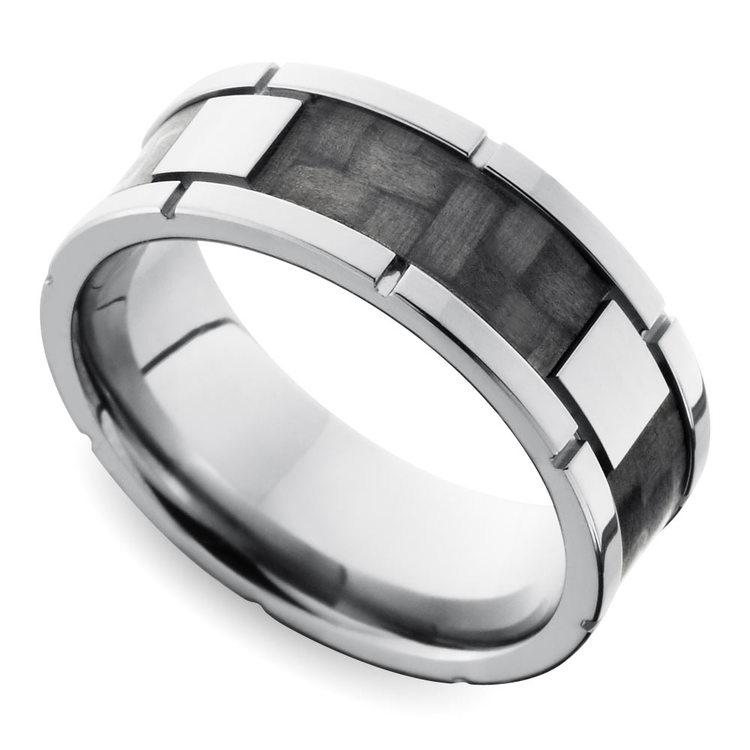 Segmented Carbon Fiber Men's Wedding Ring in Titanium   01
