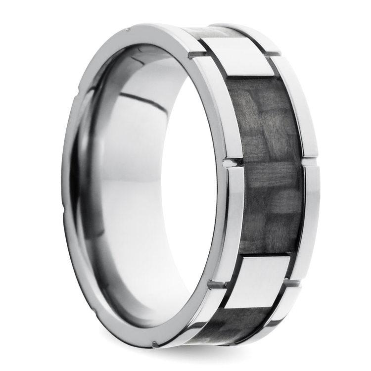 Segmented Carbon Fiber Men's Wedding Ring in Titanium   02