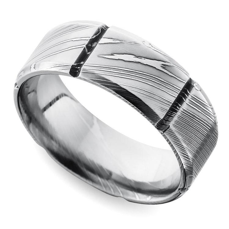 Segmented Men's Wedding Ring in Damascus Steel | 01