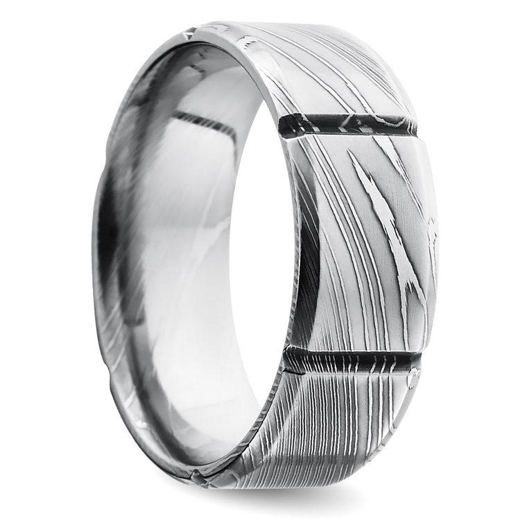 Segmented Men's Wedding Ring in Damascus Steel | 02