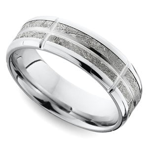 Constellation - Segmented Cobalt Chrome & Meteorite Inlay Mens Band