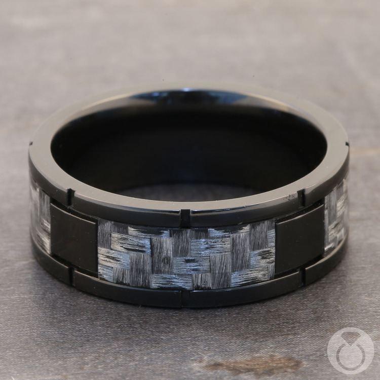 User 1 - Segmented Zirconium & Meteorite Mens Band | 04