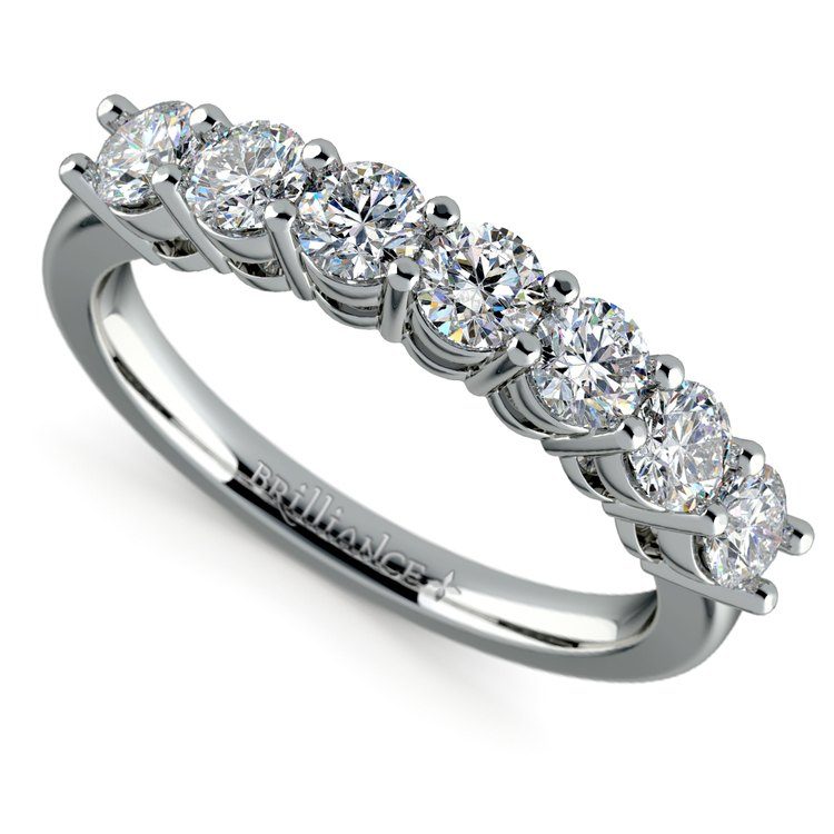 Seven Diamond Wedding Ring in White Gold (1 ctw) | 01