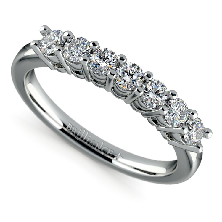 Seven Diamond Wedding Ring in White Gold (1/2 ctw) | 01