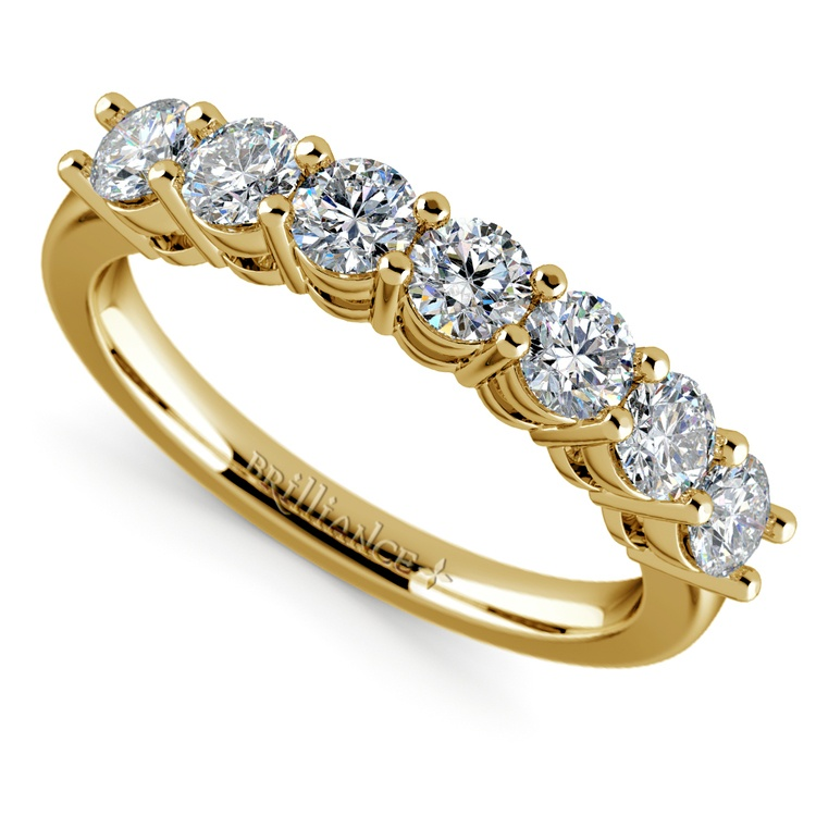 Seven Diamond Wedding Ring in Yellow Gold (1 ctw) | 01