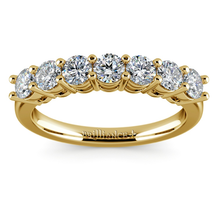 Seven Diamond Wedding Ring in Yellow Gold (1 ctw) | 02