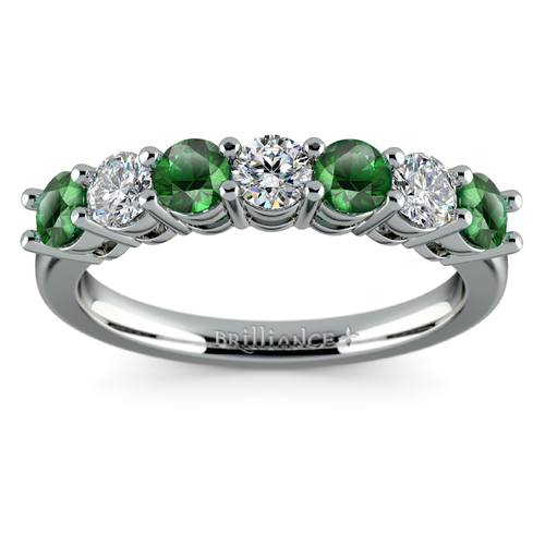 seven diamond emerald wedding ring in platinum - Emerald Wedding Rings