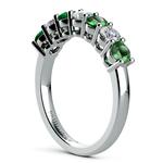 Seven Diamond & Emerald Wedding Ring in White Gold | Thumbnail 04