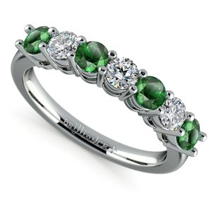 Seven Stone Diamond And Emerald Ring In White Gold