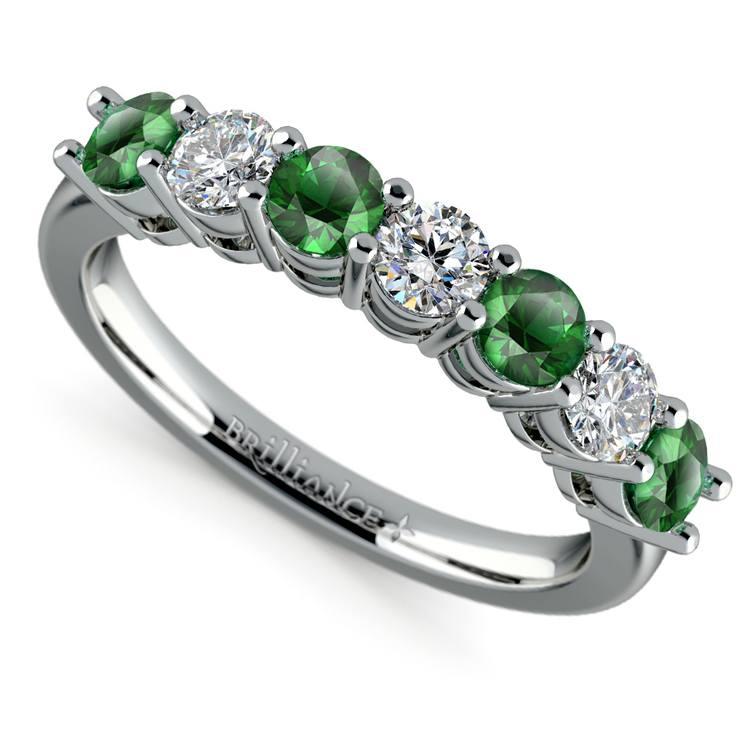 Seven Diamond & Emerald Wedding Ring in White Gold | 01