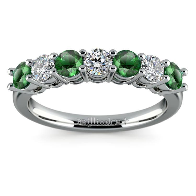 Seven Diamond & Emerald Wedding Ring in White Gold | 02