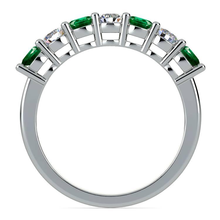 Seven Diamond & Emerald Wedding Ring in White Gold | 03
