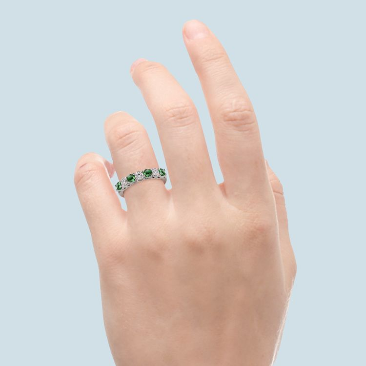 Seven Stone Diamond And Emerald Ring In White Gold | 06