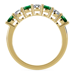 Seven Diamond & Emerald Wedding Ring in Yellow Gold | Thumbnail 03