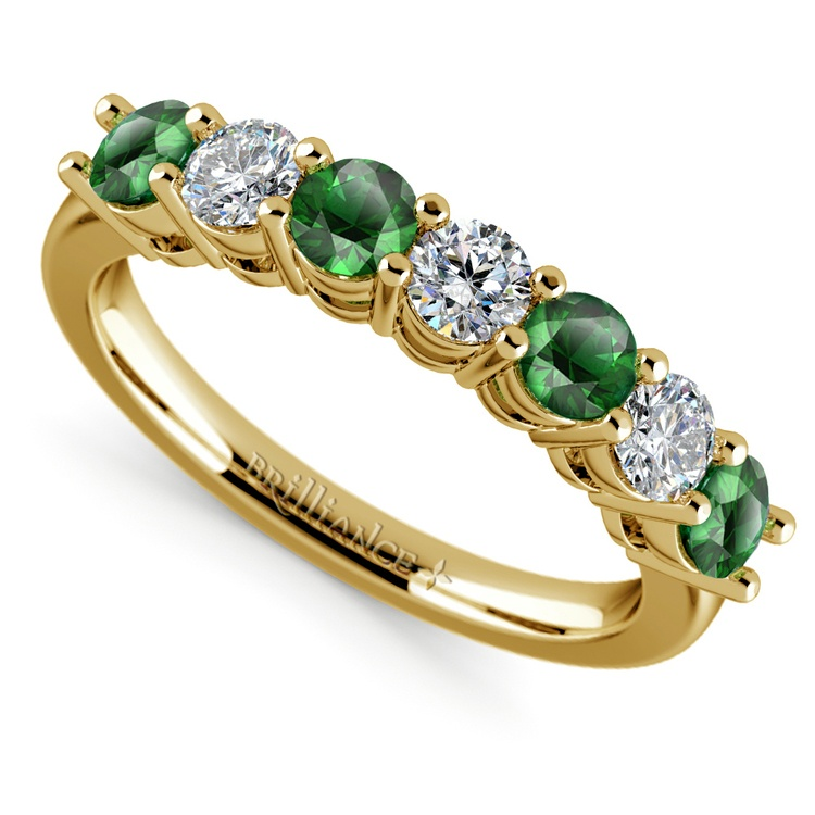 Seven Diamond & Emerald Wedding Ring in Yellow Gold | 01