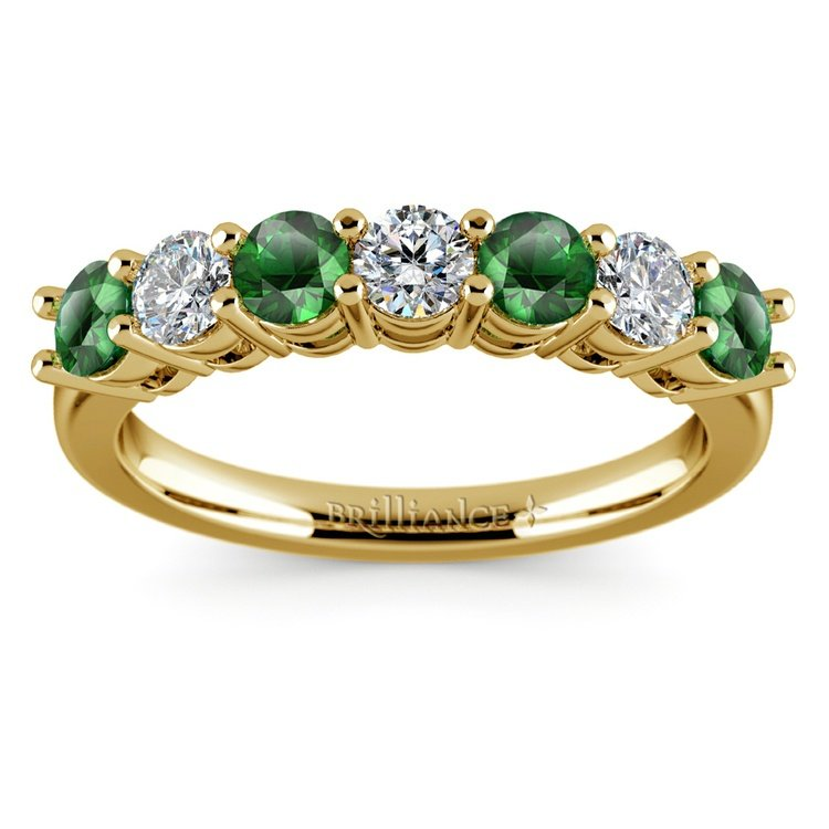 Seven Diamond & Emerald Wedding Ring in Yellow Gold | 02