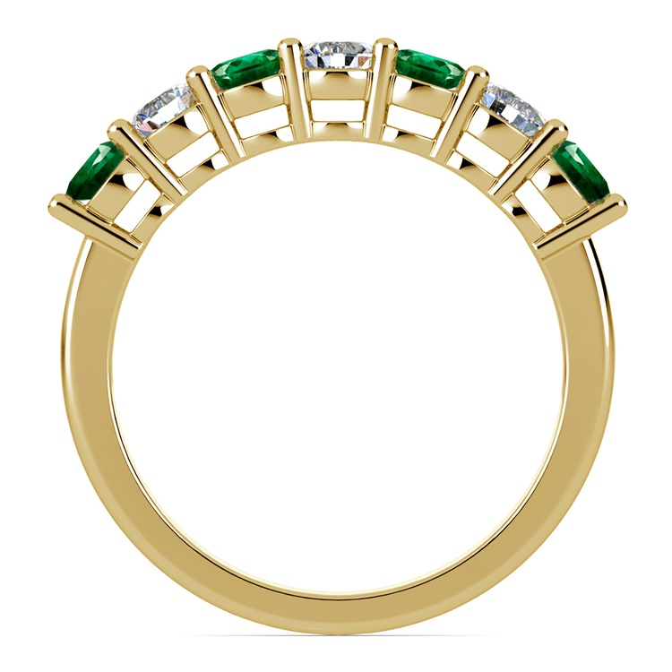 Seven Diamond & Emerald Wedding Ring in Yellow Gold | 03