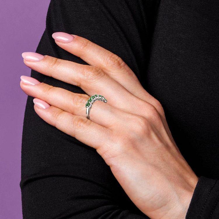 Seven Emerald Gemstone Ring in Platinum  | 07