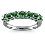 Seven Emerald Gemstone Ring in White Gold  | Thumbnail 02
