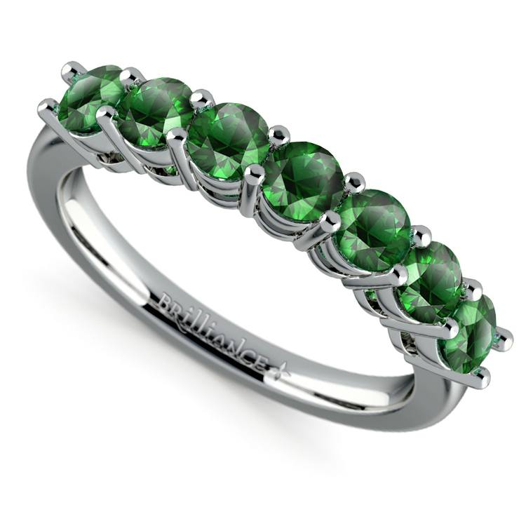 Seven Emerald Gemstone Ring in White Gold  | 01