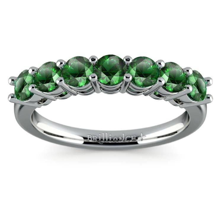 Seven Emerald Gemstone Ring in White Gold  | 02