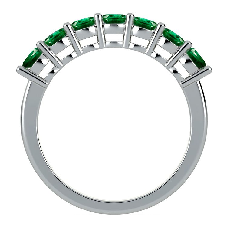 Seven Emerald Gemstone Ring in White Gold  | 03