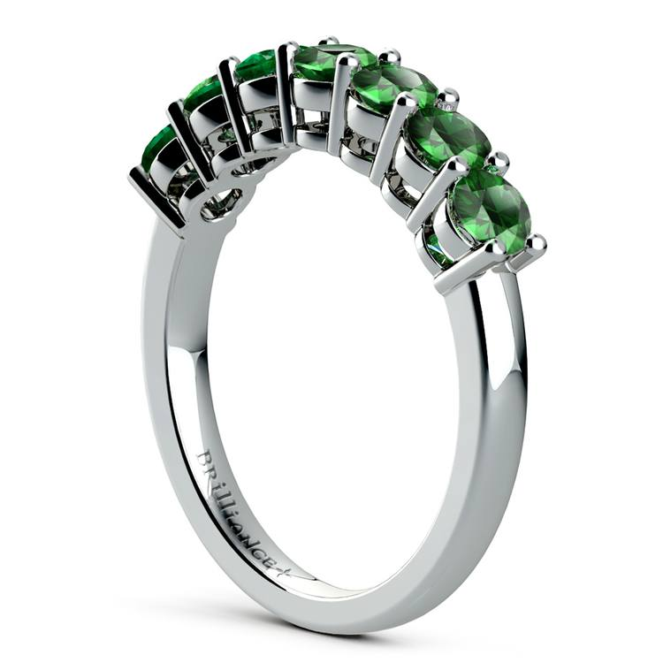 Seven Emerald Gemstone Ring in White Gold  | 04