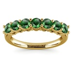 Seven Emerald Gemstone Ring in Yellow Gold | Thumbnail 02