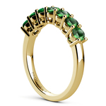 Seven Emerald Gemstone Ring in Yellow Gold | Thumbnail 04