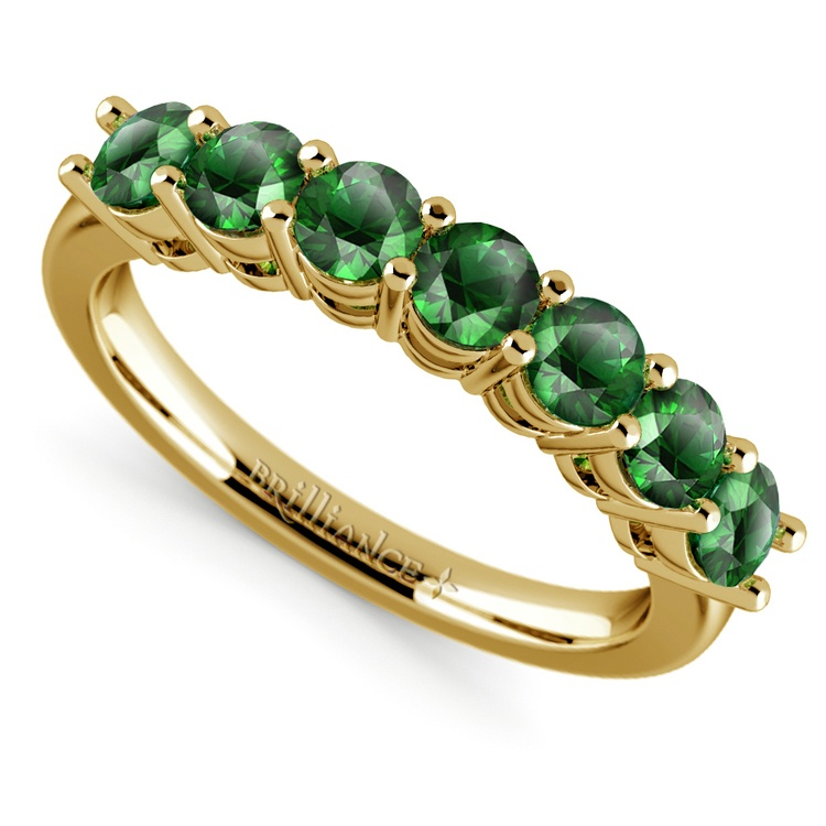 Seven Emerald Gemstone Ring in Yellow Gold | 01