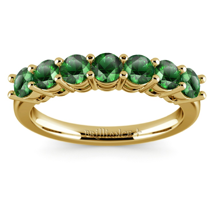 Seven Emerald Gemstone Ring in Yellow Gold | 02