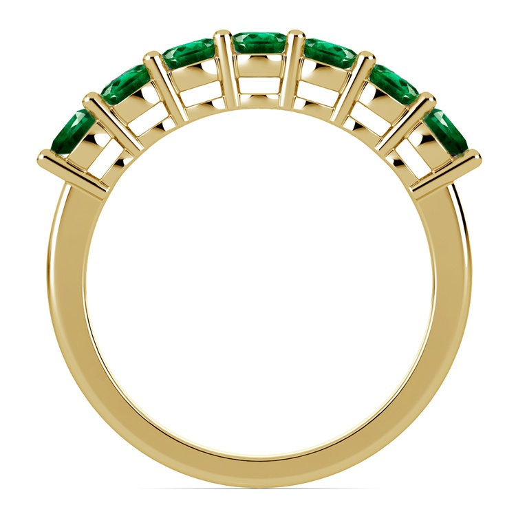 Seven Emerald Gemstone Ring in Yellow Gold | 03