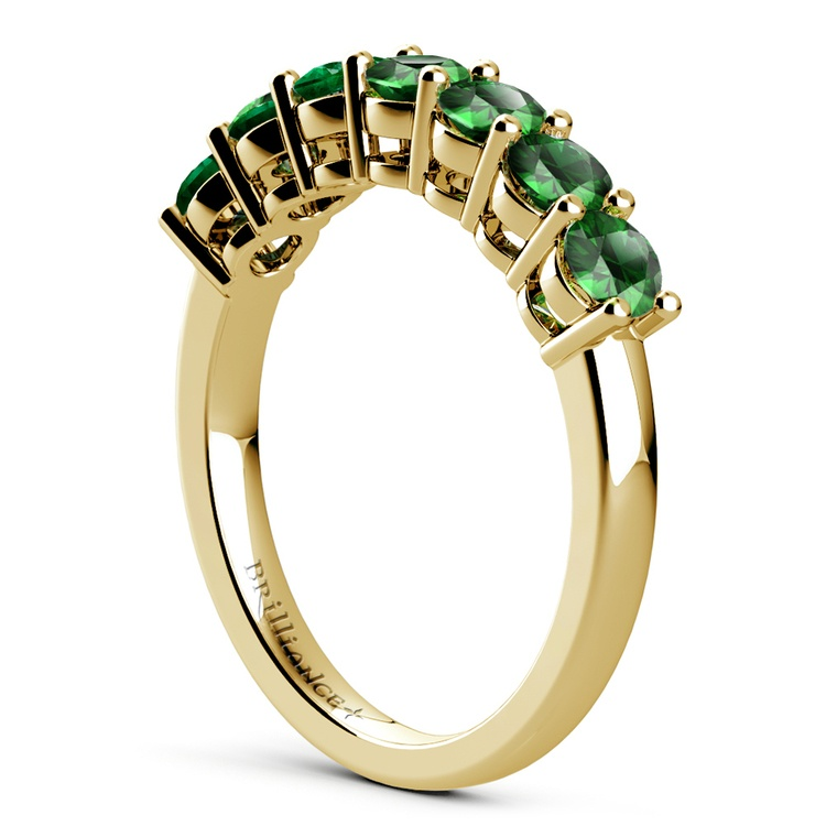 Seven Emerald Gemstone Ring in Yellow Gold | 04