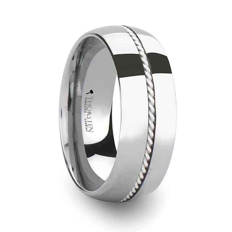 Twisted - Domed Tungsten Mens Band with Silver Cable Inlay | 02