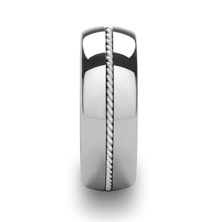 Twisted - Domed Tungsten Mens Band with Silver Cable Inlay | 03