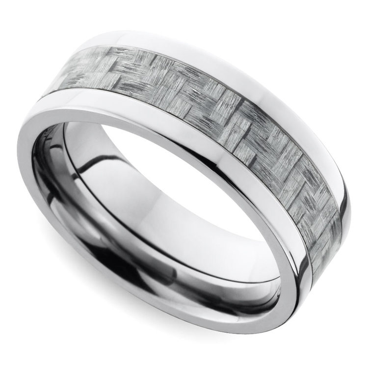 Silver Carbon Fiber Flat Men's Wedding Ring in Titanium | 01