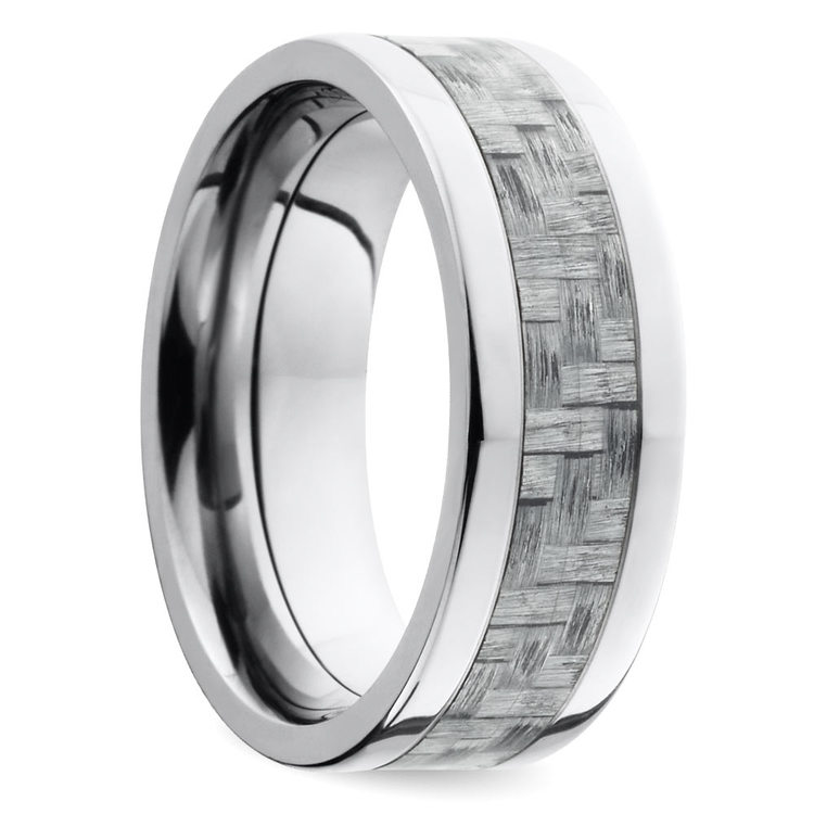 Silver Carbon Fiber Flat Men's Wedding Ring in Titanium | 02