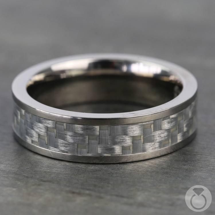 Silver Carbon Fiber Flat Men's Wedding Ring in Titanium | 03
