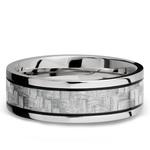 Silver Carbon Fiber Inlay Men's Wedding Ring in 14K White Gold | Thumbnail 03