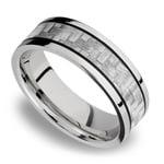 Silver Carbon Fiber Inlay Men's Wedding Ring in 14K White Gold | Thumbnail 01