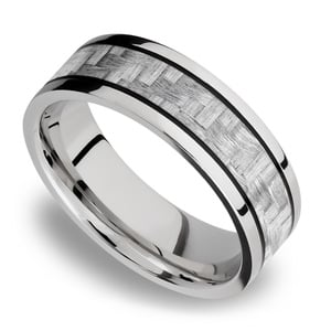 Silver Carbon Fiber Inlay Men's Wedding Ring in 14K White Gold