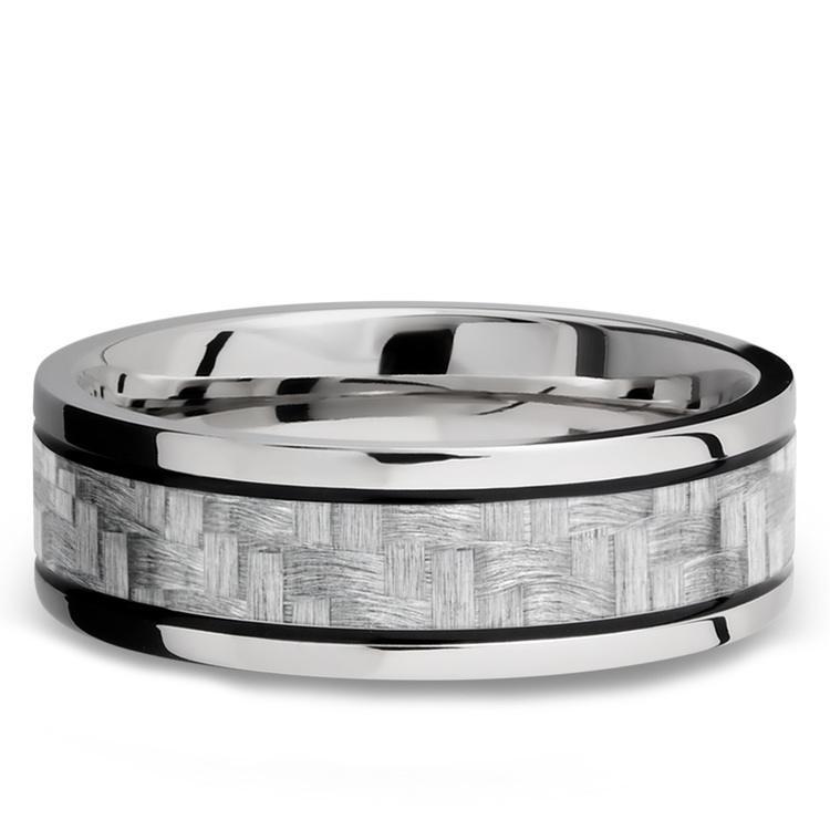 Silver Carbon Fiber Inlay Men's Wedding Ring in 14K White Gold | 03