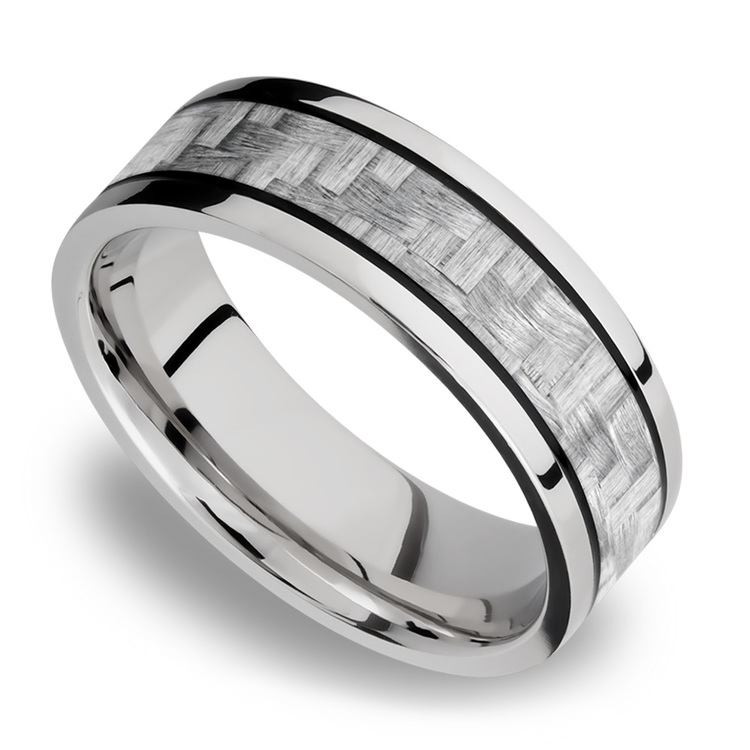 Silver Carbon Fiber Inlay Men's Wedding Ring in 14K White Gold | 01