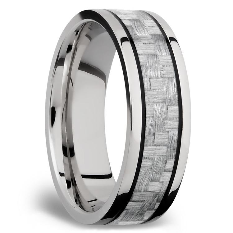 Silver Carbon Fiber Inlay Men's Wedding Ring in 14K White Gold | 02