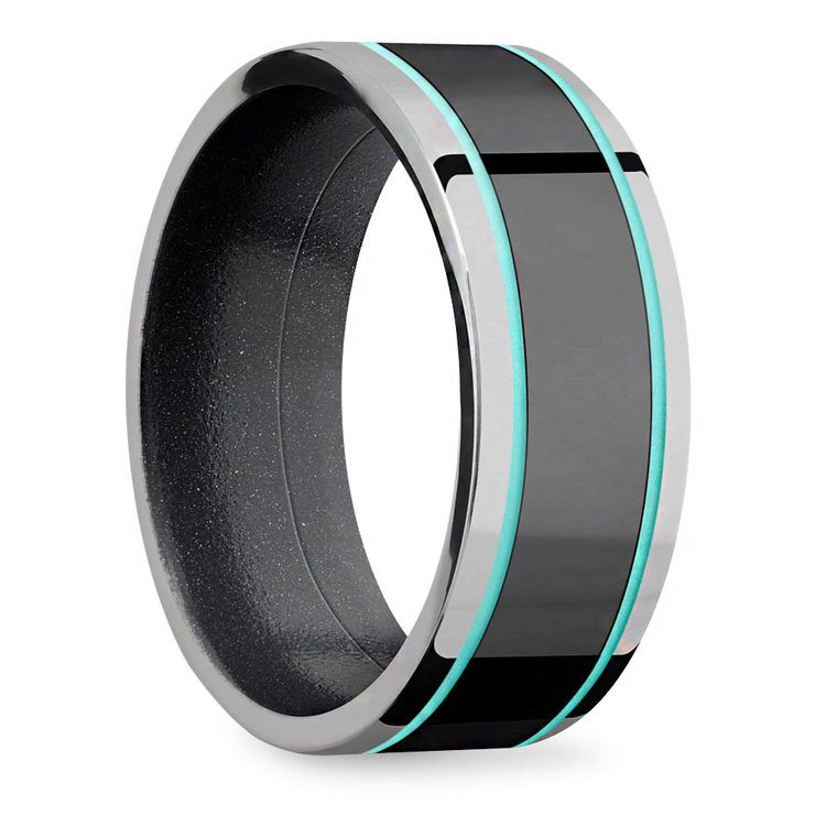 Sleek Lustor - Titanium Black with Turquoise Accents Mens Band | 02